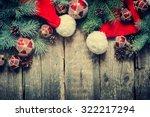 christmas fir tree toys  santa... | Shutterstock . vector #322217294