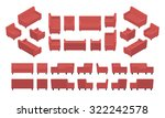 set of the isometric red modern ... | Shutterstock . vector #322242578