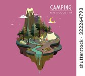 camping at night concept in 3d isometric flat design