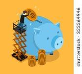 saving money concept in 3d... | Shutterstock .eps vector #322264946