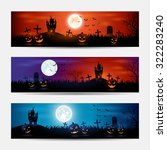 halloween banners with castle... | Shutterstock . vector #322283240