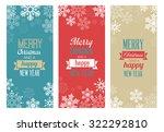 three vintage christmas... | Shutterstock .eps vector #322292810