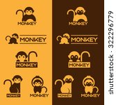 Yellow And Brown Monkey Logo...