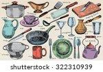 plate  bowl  stew pot  pan ... | Shutterstock .eps vector #322310939