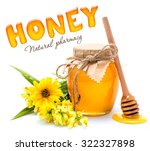 honey jar and wooden stick with ... | Shutterstock . vector #322327898