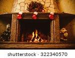 Warm Cozy Fireplace Decorated...