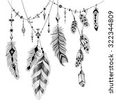 detailed feathers in boho style. | Shutterstock .eps vector #322344809