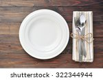 empty plate with cutlery fork...   Shutterstock . vector #322344944