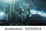 colone of futuristic spaceships ... | Shutterstock . vector #322353314