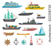 ships yachts and boats icons... | Shutterstock .eps vector #322358720