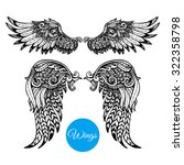 decorative wings set with hand... | Shutterstock .eps vector #322358798
