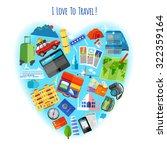 love to travel concept heart... | Shutterstock .eps vector #322359164