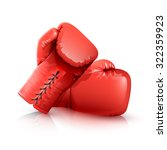 two realistic red leather... | Shutterstock .eps vector #322359923