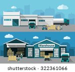 warehouse building and shipping ... | Shutterstock .eps vector #322361066