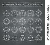 vintage monogram set on... | Shutterstock .eps vector #322372028