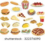 assorted fast food icons | Shutterstock .eps vector #322376090