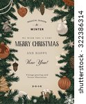 vintage vector card. christmas... | Shutterstock .eps vector #322386314