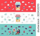 flat desdign concept e commerce ... | Shutterstock .eps vector #322410293
