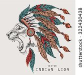 lion in the colored indian... | Shutterstock .eps vector #322430438