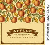 retro apple harvest card.... | Shutterstock .eps vector #322432760