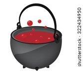 magic kettle with red potion ... | Shutterstock .eps vector #322434950