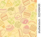 fast food seamless line pattern.... | Shutterstock .eps vector #322438430
