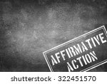 Small photo of Affirmative action stamp on concrete wall
