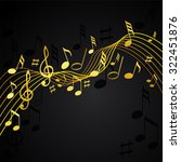 gold music notes on a solid... | Shutterstock .eps vector #322451876