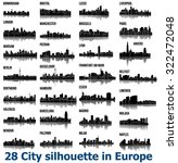 set of 28 city silhouette in... | Shutterstock .eps vector #322472048