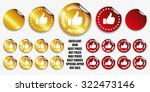 thumb up stickers. gold and red. | Shutterstock .eps vector #322473146