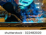 welder and bright sparks.... | Shutterstock . vector #322482020