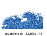 wave of blue. japanese style | Shutterstock .eps vector #322501448