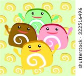 jam roll sweet cute cake cartoon | Shutterstock .eps vector #322516496