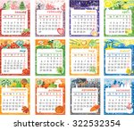 cartoon multicolored calendar... | Shutterstock . vector #322532354