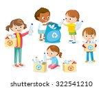 children gathering plastic...   Shutterstock .eps vector #322541210