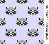 pattern with doodle raccoons... | Shutterstock .eps vector #322560788