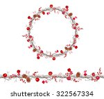 round season wreath with... | Shutterstock .eps vector #322567334