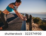 young woman leaning on road...   Shutterstock . vector #322574930
