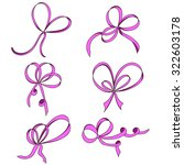 a set of six thin bows. pink....   Shutterstock .eps vector #322603178