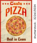 pizza vintage retro poster on... | Shutterstock .eps vector #322615034