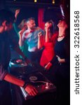 modern deejay adjusting sound... | Shutterstock . vector #322618568