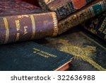Old Antique Gilded Leather Bin...