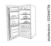 sketch of opened fridge... | Shutterstock .eps vector #322646756