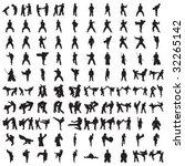 hundred karate silhouettes | Shutterstock .eps vector #32265142