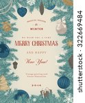 vintage vector card. christmas... | Shutterstock .eps vector #322669484