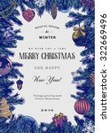 vintage vector card. christmas... | Shutterstock .eps vector #322669496