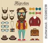 hipster character and hipster... | Shutterstock .eps vector #322680158