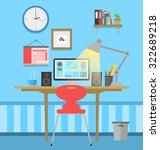 workspace flat design   Shutterstock .eps vector #322689218