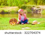 little girl in jeans and a... | Shutterstock . vector #322704374