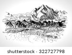 hand drawn landscape with... | Shutterstock .eps vector #322727798